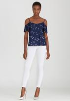 SISSY BOY - Cinthie Swallow Cold-Shoulder Top Navy