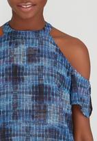 Sassoon - Cold Shoulder Printed Blouse Mid Blue