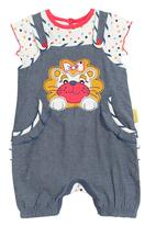 Hooligans - Embroidered denim romper set (top and dungarees with lion)