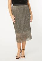 EVANS - Pleated Midi Skirt Gold