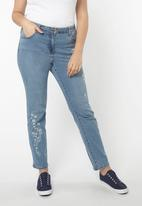 EVANS - Embroidered Straight Leg Jeans Pale Blue