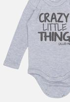 Funky Shop - Crazy little thing baby grow - grey