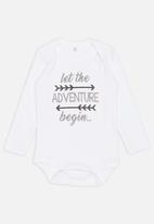 Funky Shop - Let the adventure begin baby grow - white