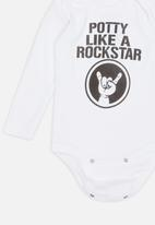 Funky Shop - Potty like a rockstar baby grow - white