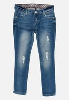 GUESS - Sequin Ripped Blue Skinny