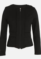 edit - Zip Front Knit Jacket Black