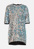MINOTI - All Over Sequin Dress Silver