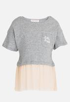 MINOTI - Shimmer Colour Block Frilled Hem Tee Grey