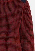 MINOTI - Mixed Knitted Jumper with Quilted Shoulder Panel Maroon