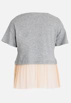 MINOTI - Shimmer Colour Block Frilled Hem Tee Grey