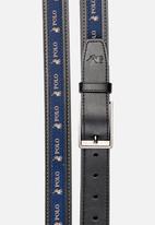 POLO - Lorenzo leather belt - black