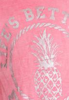 POP CANDY - Printed tie front tee - pink