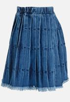 POP CANDY - Pleated Denim Skirt Blue