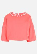 POP CANDY - Sweat top with bobble detail - coral