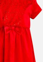 POP CANDY - Velour dress with bow detail - red