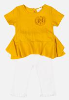 POP CANDY - Blouse with 3/4 pant set - yellow & white