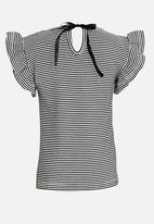 POP CANDY - Short sleeve tee with frill - black & white