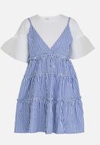 POP CANDY - Tiered Stripe Dress Blue