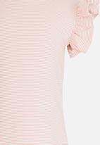 POP CANDY - Short sleeve tee with frill - pink & white