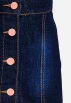 POP CANDY - Denim Skirt With Buttons Blue