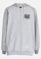 Quiksilver - Tow Crash Zip Thru Raglan Sleeve Hoodie Grey