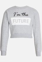 Rebel Republic - Printed Sweat Top Grey Melange