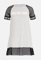 Rebel Republic - Mesh Combo Dress with Print Grey