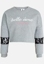 Rebel Republic - Sweater with Lace Insert Grey Melange