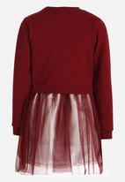 Rebel Republic - Combo Fleece Dress Burgundy