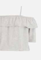 Rebel Republic - Bardot Jersey Top Grey Melange