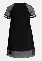 Rebel Republic - Mesh Combo Dress with Print Black