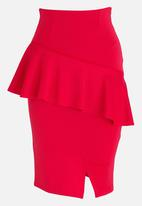 edit - Frill Detail Pencil Skirt Red