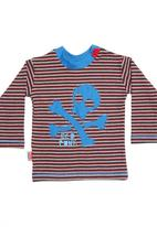 Eco Punk - Striped T-shirt with blue skull and crossbones
