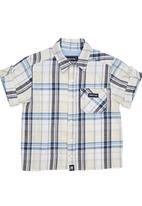 Phoebe & Floyd - Checked short-sleeve roll-up shirt