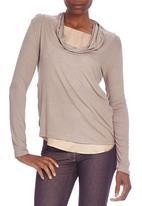 LABEL FEMME - Cowl-neck contrast top