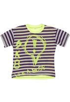 Eco Punk - Multicoloured top with stripes and neon writing