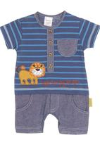Hooligans - Lion button-up playsuit with striped T-shirt and denim shorts