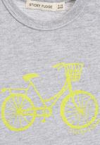 Sticky Fudge - Short-sleeve Top with Yellow Bicycle Print