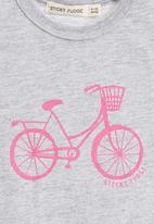 Sticky Fudge - Short-sleeve top with pink bicycle print