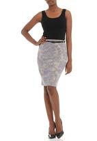Posse Clothing - Lace-print knit skirt with belt