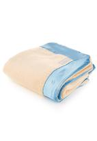 Lily-n-Jack - Caramel cot blanket with blue detail