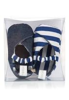 Tic Tac Toe - Striped kimono shoes in navy