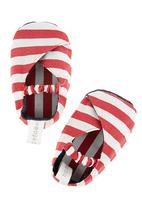 Tic Tac Toe - Striped kimono shoes in red