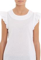 adam&eve; - Frill-sleeve Top White