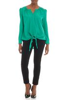 CRAVE - Tie front long sleeve blouse