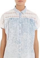 Mishah - Acid-wash blouse with lace shoulders