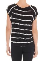 edge - Aztec print T-shirt in black and white