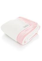 Lily-n-Jack - White cot blanket with pink detail