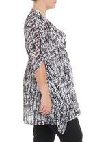 Megalo - Printed kaftan with beading in black and white