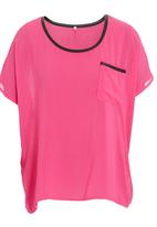 STYLE REPUBLIC - Pleather-trim top in pink
